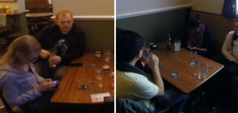 Two photos of people using their phone in the pub