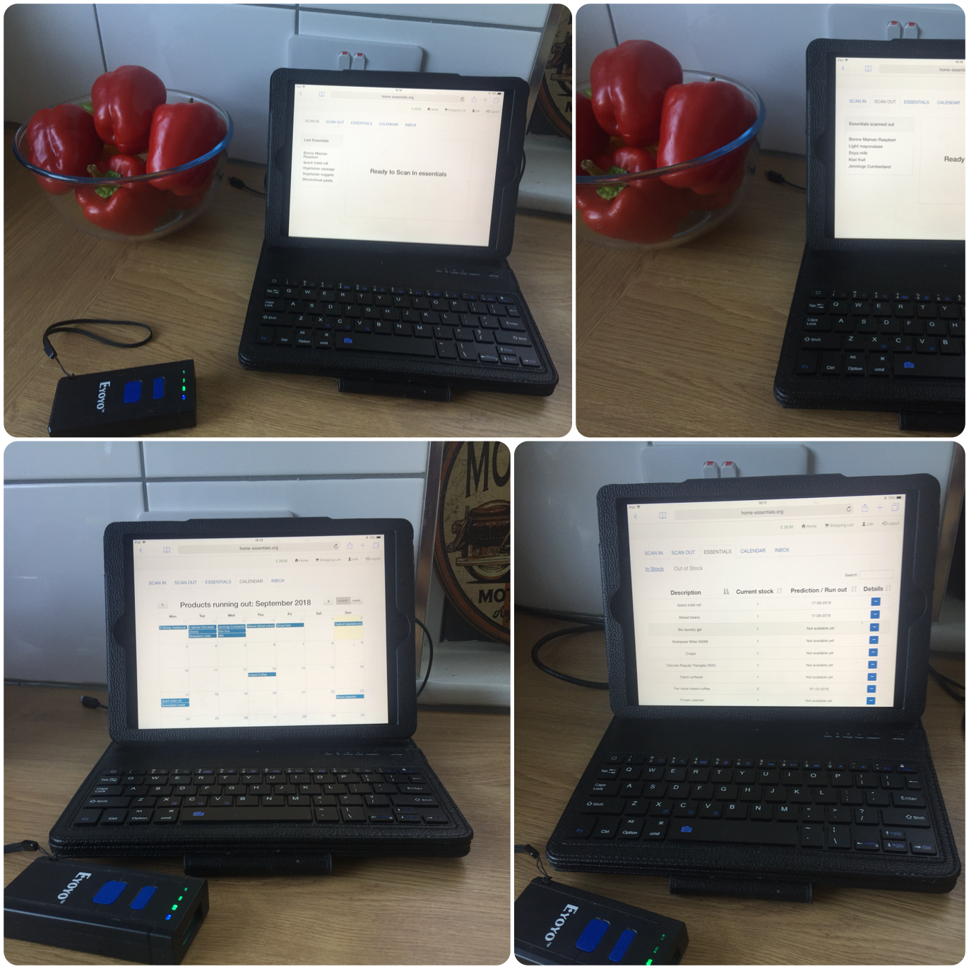 Four images of our web-based app running on an iPad
