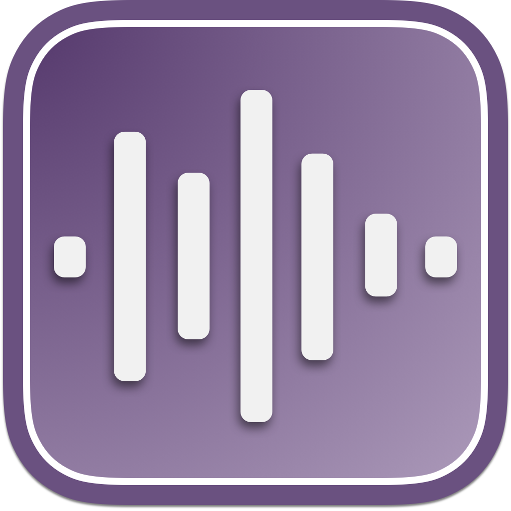 A purple square with an audio wave in the middle
